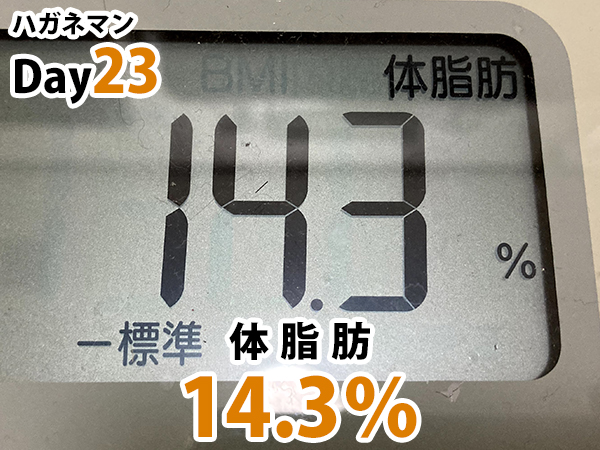 ハガネマン体脂肪23日目14.3%