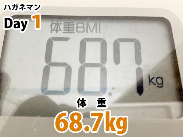 ハガネマン体重1日目68.7キログラム