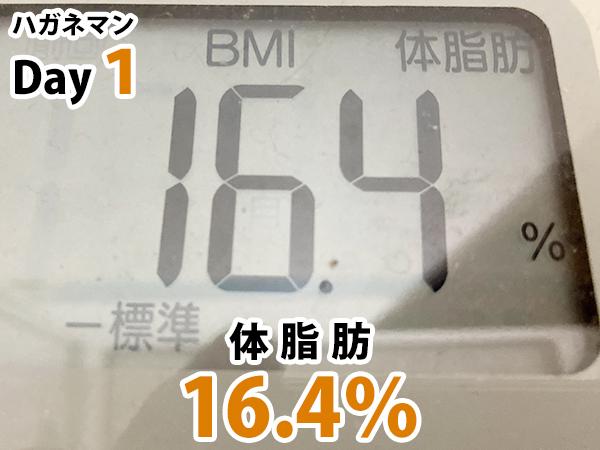 ハガネマン1日目体脂肪率16.4%